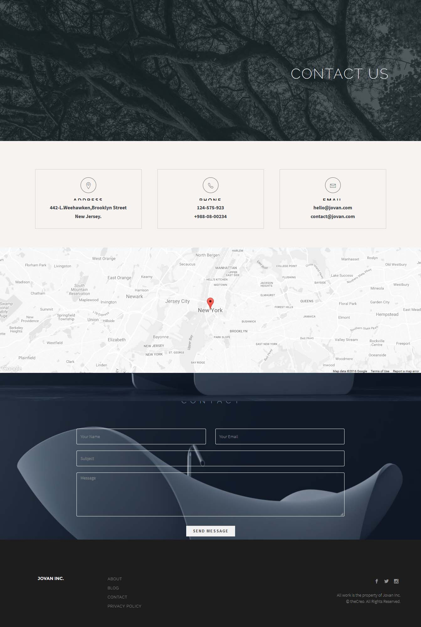 Jovan Multipurpose HTML5 Template by theCreo – Point of Contact Template