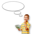 Boy holding money and thought bubble on white background
