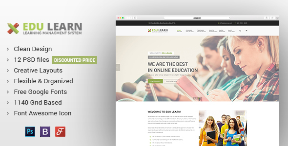 EduLearn - Education, School & Courses PSD Template