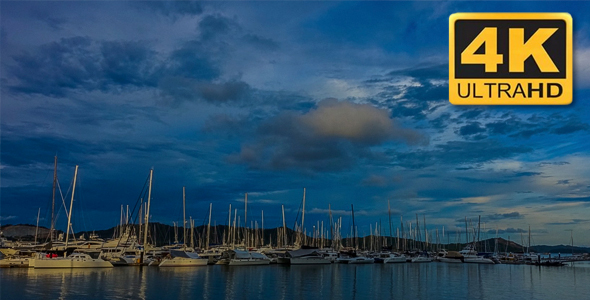 VideoHive Sunset View of Sea Bay with Yachts 18670828