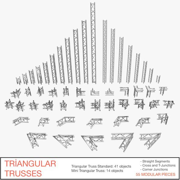 Triangular Trusses 002 - 3DOcean Item for Sale