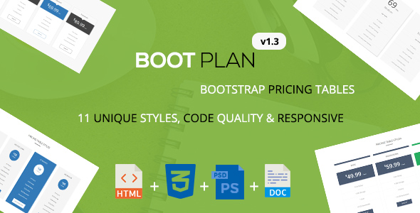 Download Bootplan - A Responsive Bootstrap Pricing Tables | v1.3