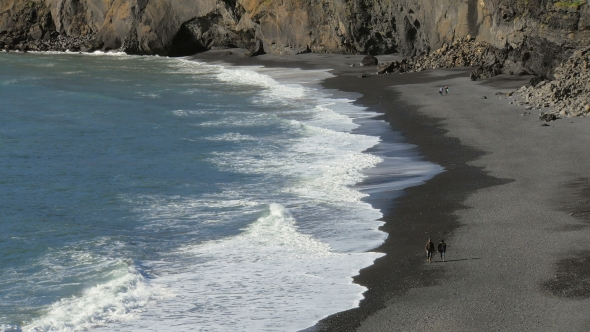 VideoHive Waves Crashing On Black Sand Beach In Iceland View From Dyrholaey 18675356