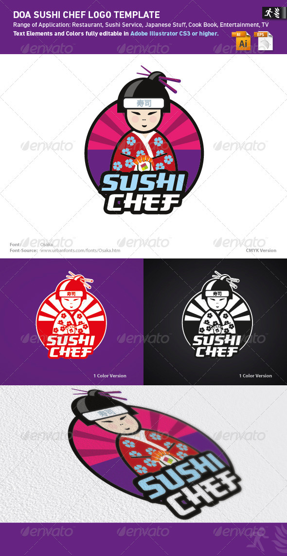 DOA Sushi Chef Logo Template - Humans Logo Templates
