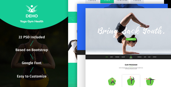 DEHO - Yoga, Gym & Health Related PSD Template