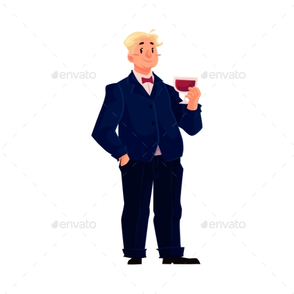 Happy Fat Man In Business Suit With Glass Of Wine
