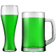 Green Beer Mug and Glass.