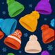 Knitted Hat Winter Background Pattern. Vector