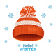 Knitted Woolen Red Hat for Winter Season Card. Vector
