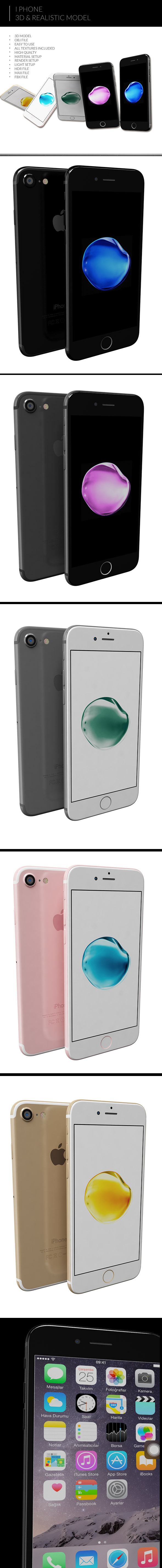 iPhone 7 3D Model - 3DOcean Item for Sale