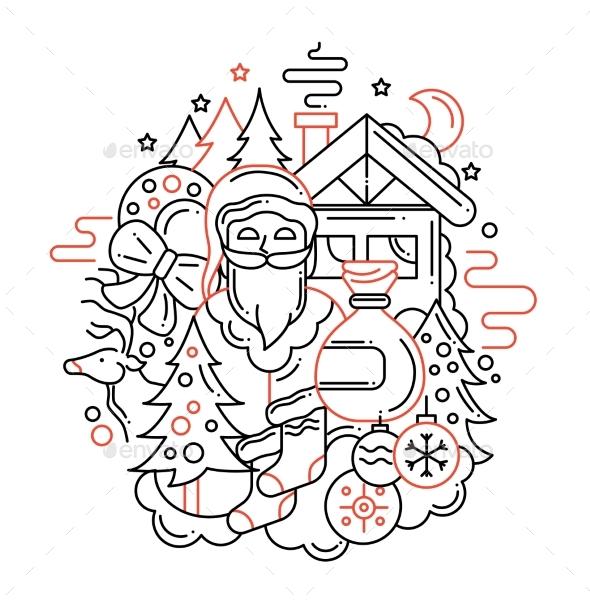 Christmas Card - Line Design Illustration