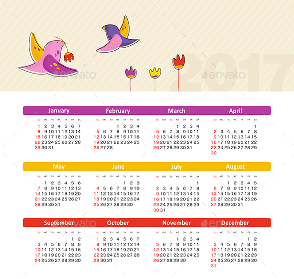 Vector Calendar 2017 with bird. Week Starts Sunday
