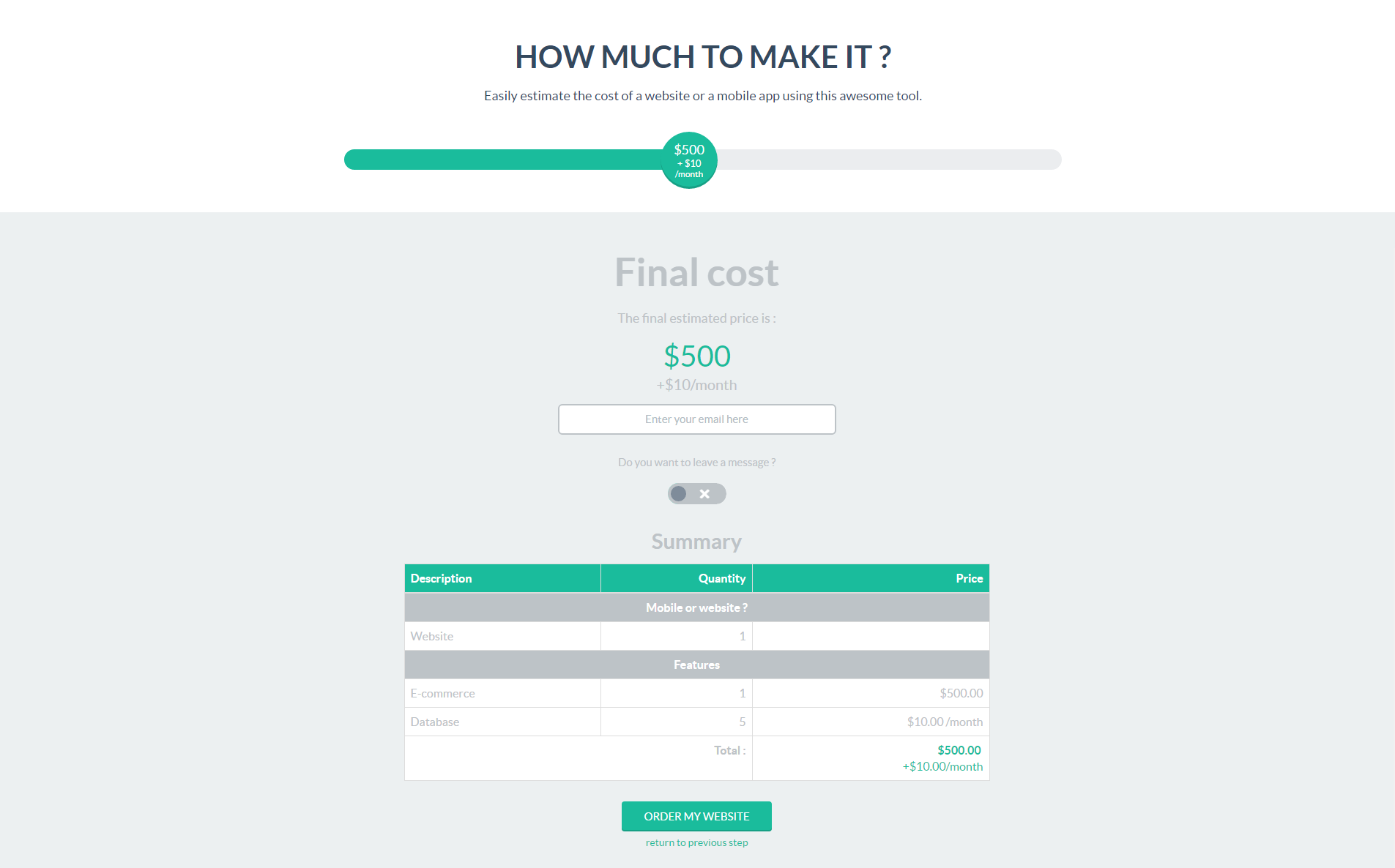 Website cost estimate template excel 07 project cost for Free cost to build calculator