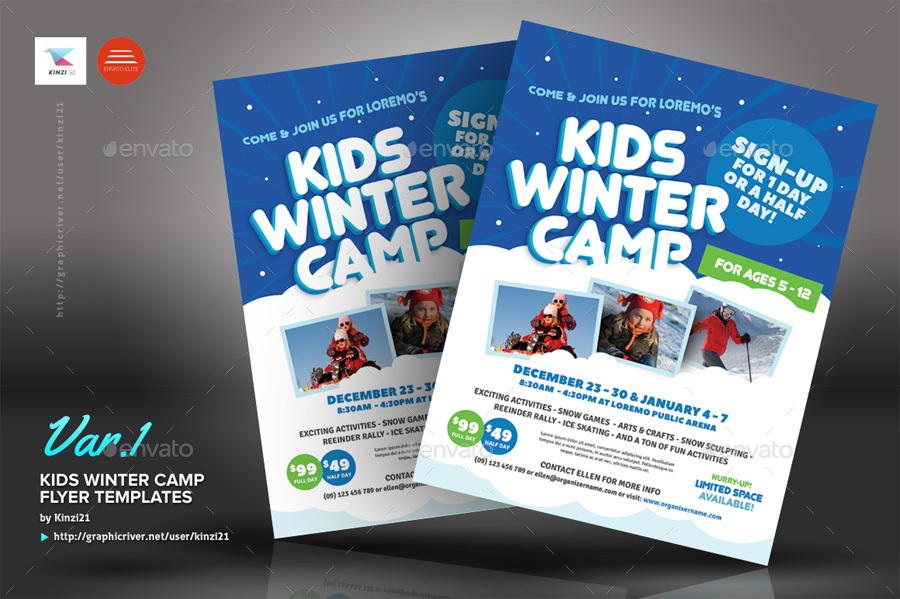 Kids Winter Camp Flyer Templates by kinzi21 – Camp Flyer Template