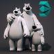 Polar Bear Family - Rigged Cartoon 3D Characters