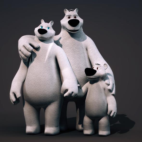 Polar Bear Family - Rigged Cartoon 3D Characters - 3DOcean Item for Sale