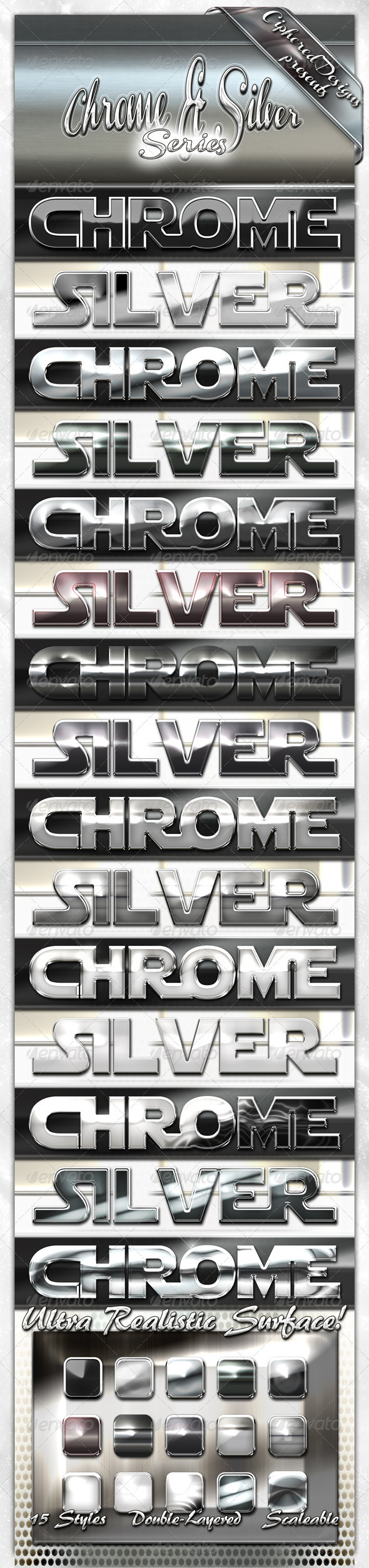 GraphicRiver Chrome & Silver Series Photoshop Styles 1365010