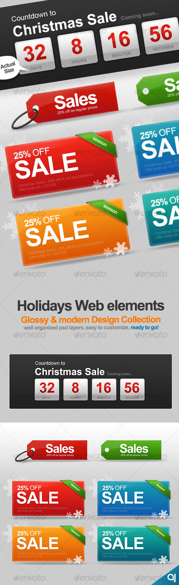 GraphicRiver Holiday Web Elements collection 71617