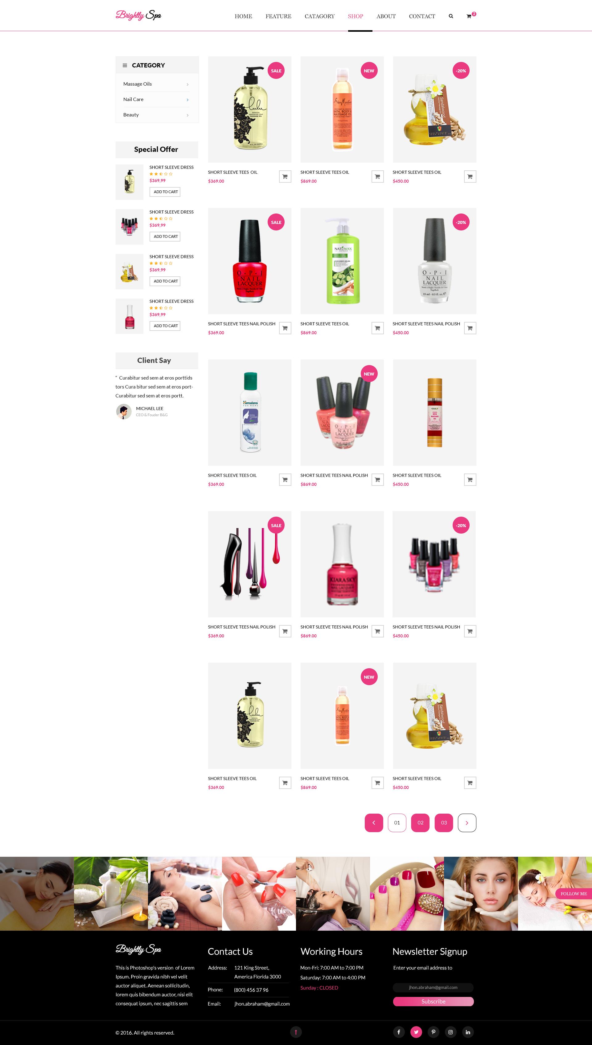 Brightly Spa Beauty Blog Psd Template By Blogfair