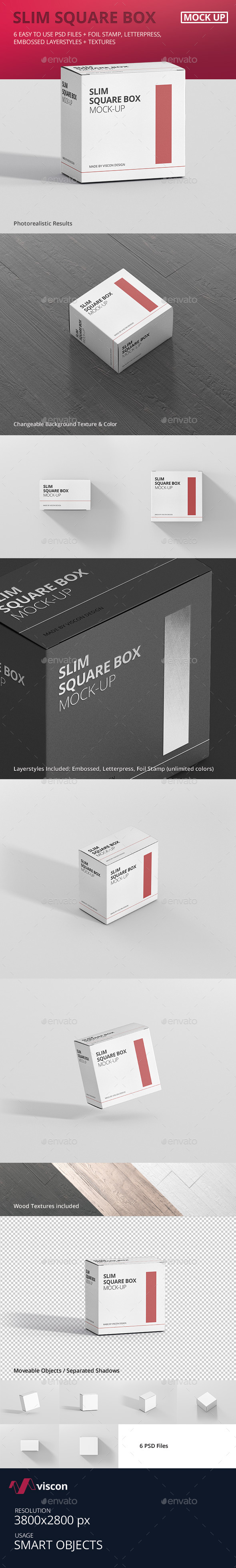 Package Box Mock-Up - Slim Square