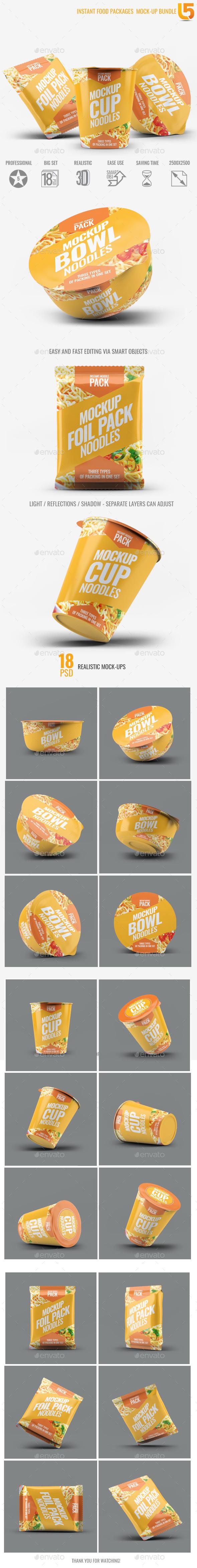 Instant Food Packages Mock-Up Bundle