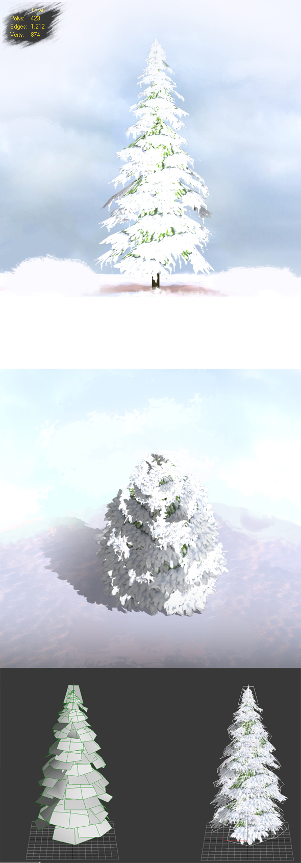 Low Poly Trees Snow - 3DOcean Item for Sale