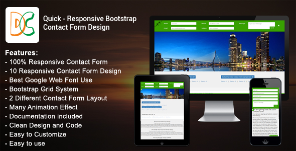 CodeCanyon Quick Responsive Bootstrap Contact Form 18707354