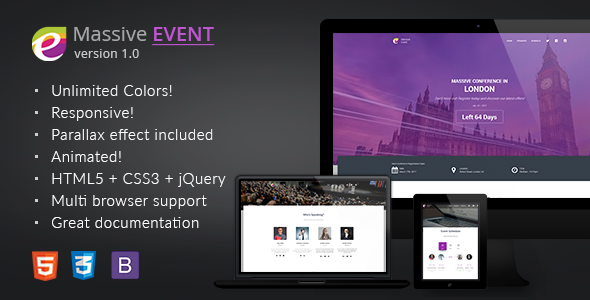 Download MASSIVE EVENT - Conference and Event HTML5/CSS3 Template