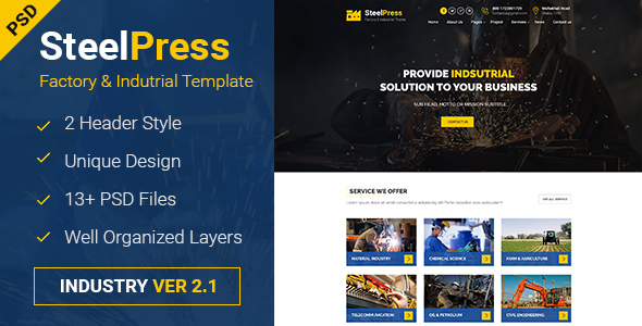 SteelPress - Industrial & Factory Business PSD Template