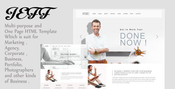 Jeff – OnePage and Multipage Inventive , Corporate Agency, Small business and Portfolio  HTML Template (Inventive)