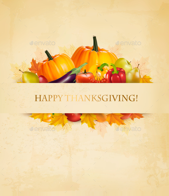 Thanksgiving Background With Autumn Fruit