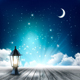 Beautiful magical Night Background With Moon And Lantern. Vector.