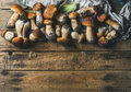 Fresh uncooked white forest mushrooms on wooden background