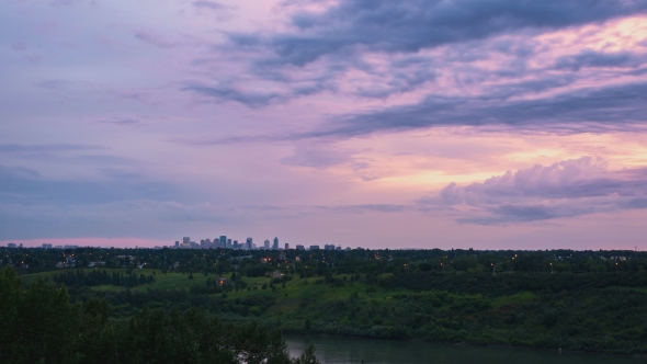 VideoHive Sunset Of City Skyline From a Distance 18712113