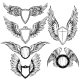 Download Vector Wings And Shield Heraldic Elements Set