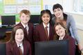 Portrait Of Elementary School Pupils With Teacher In Computer Cl