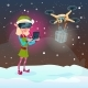Elf Girl Wear Virtual Reality Digital Glasses