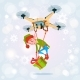 Drone Green Elf Delivery Present, Happy New Year