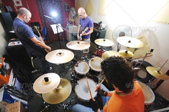 music band have training in garage - Stock Photo - Images
