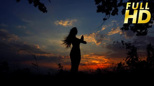 VideoHive Silhouette Against Colorful Sunset of One Young 18717672