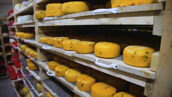 VideoHive Cheese Storage In Warehouse 18718256