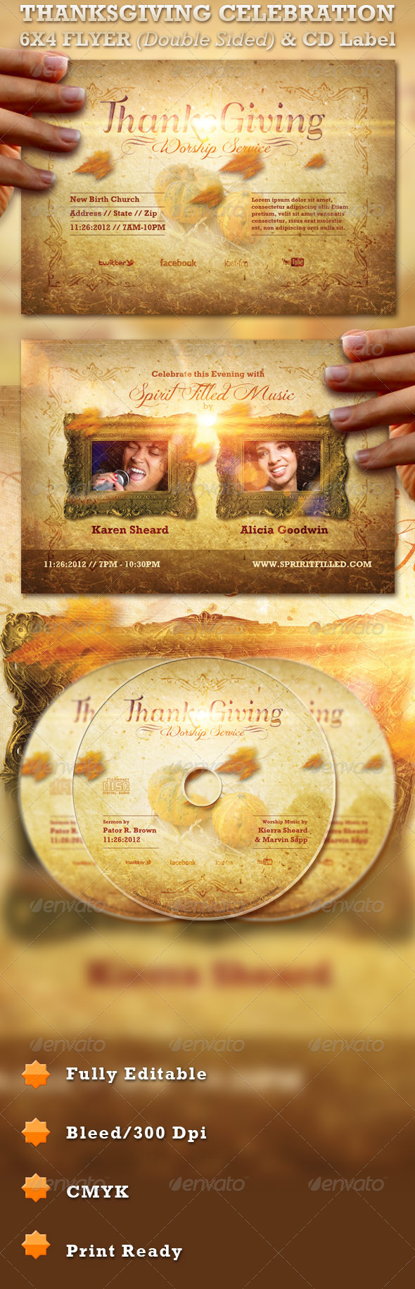 Thanksgiving Celebration Flyer and CD Label