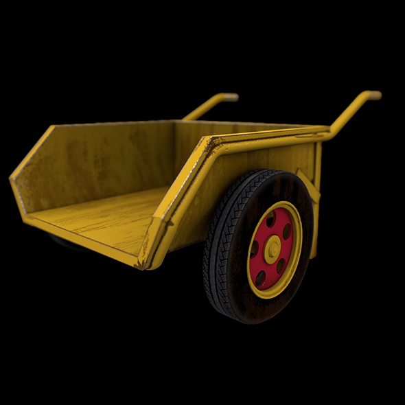Wheel Barrow Low poly Game Ready 3D Model - 3DOcean Item for Sale