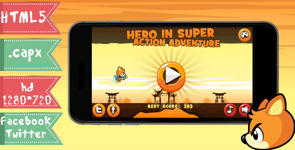 Hero in super action adventure-html5,capx,twitter, facebook