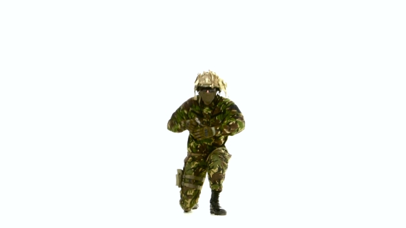 VideoHive Armed Soldier Stands On One Knee And Stretched His Arms In Front Of White Background 18721418
