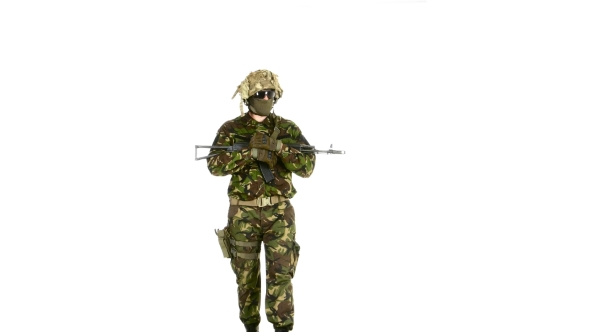 VideoHive Soldier Goes And Holds The Weapon In His Hands White Background 18721905
