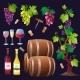 Wine Set Vector.