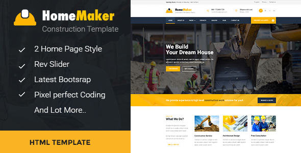 HomeMaker - Construction & Builder HTML Template