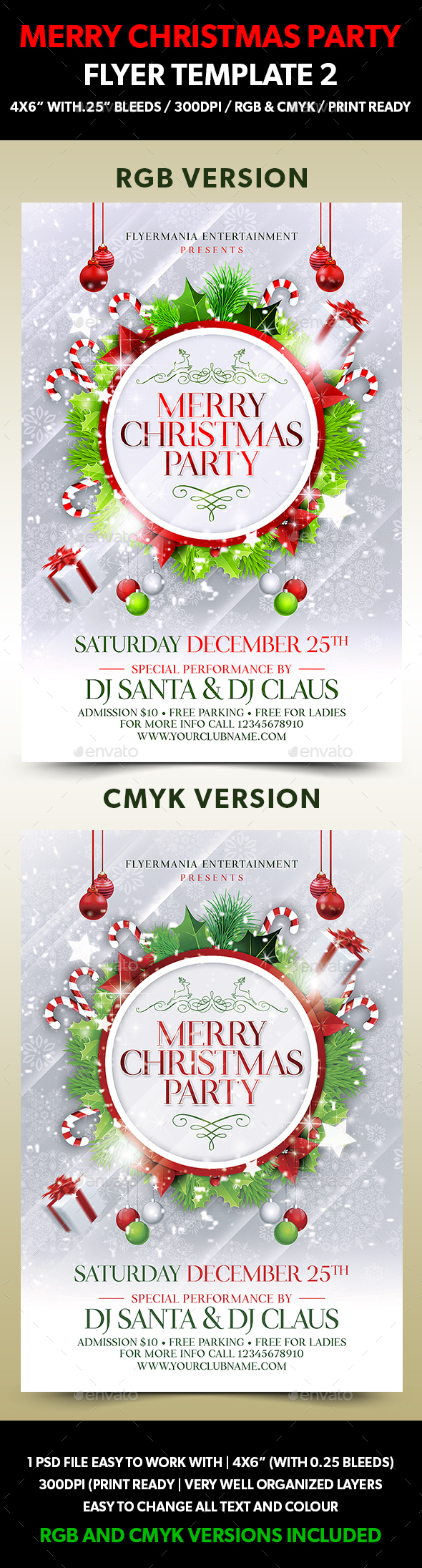 Merry Christmas Party Flyer Template 2
