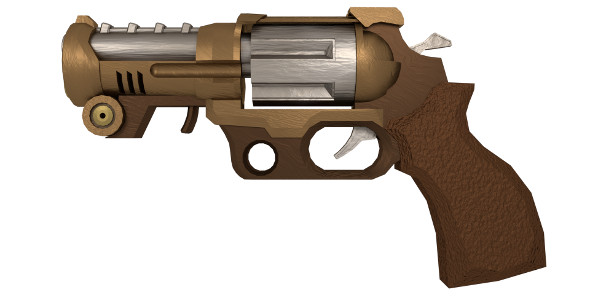 Medium-Poly Steampunk Pistol - 3DOcean Item for Sale